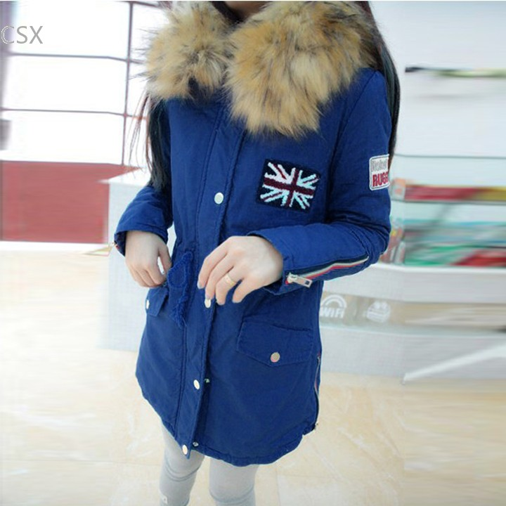 Top Quality !2014 Winter Jacket Women Clothing Faux Fur Collar Thick Warm Hooded Jacket Outerwear M-XL 30