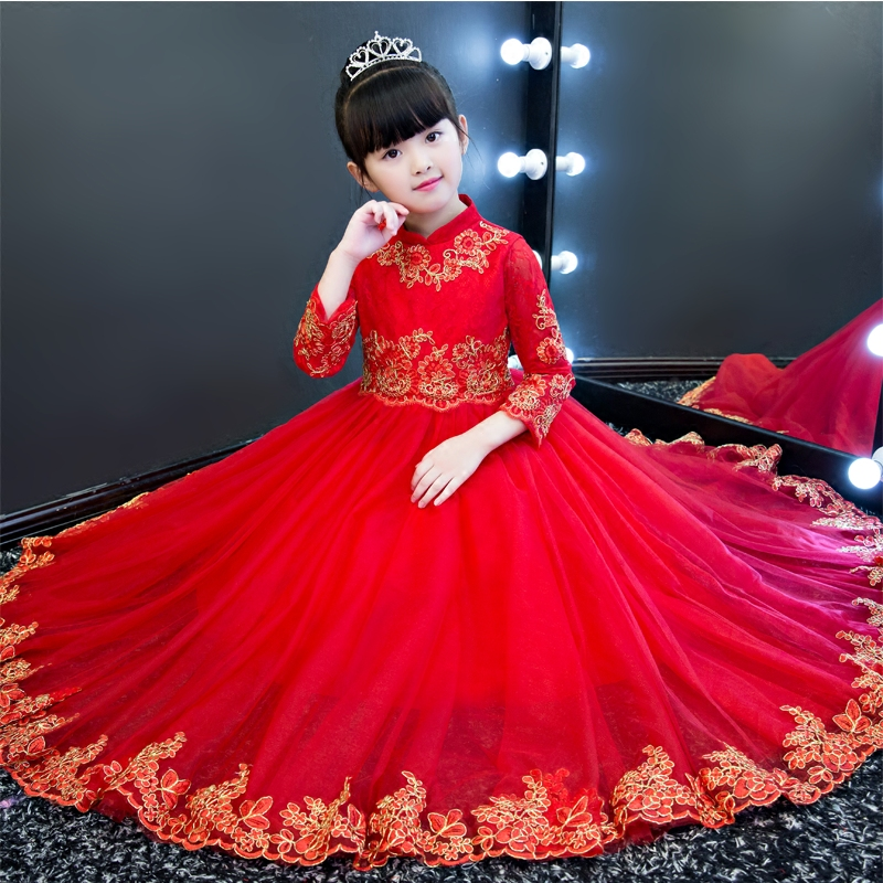 2017 Autumn Winter New Children Kids Red Color Princess Party Lace Long Dress Girls Birthday Wedding Ball Gown Pageant Dresses 2017 new high quality girls children white color princess dress kids baby birthday wedding party lace dress with bow knot design
