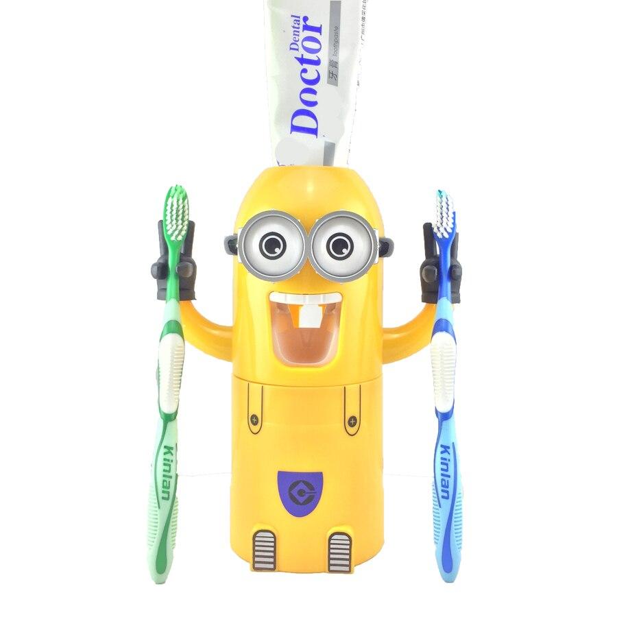 Dropshipping Bad Produkte Automatische Zahnpasta Dispenser Nette Orangenpressen Badezimmer Zubehör Set Zahnbürste Halter Für Kinder