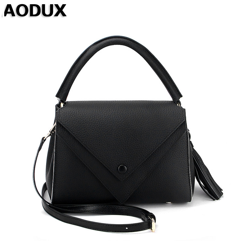 AODUX Popular Hot Genuine Real Leather Women Small Female Luxury Famous Brands Handbag Tote Shoulder Messenger Bag Purse Fashion yuanyu 2018 new hot free shipping real python leather women clutch women hand caught bag women bag long snake women day clutches