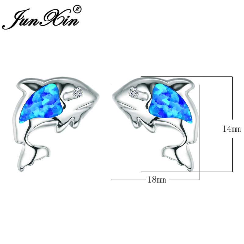 JUNXIN Ocean Blue Fire Opal Fish Stud Earrings For Women White Gold Filled Animal Earrings Zircon Rainbow Birthstone Ear Studs