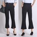 Fashion Ankle-Length Loose Wide Leg Woven Elastic Mid Waist Solid Color Flat Women Pants Casual Plus Size Suit Trousers Female
