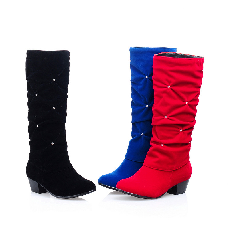New Women Low Heel Mid-calf Winter Boots Fashion Rhinestone Round Toe Snow Boots Party Wedding Shoes Red Black Blue Plus Size 2016 winter women short snow boots fashion suede round toe low heel shoes big size 30 52 ladies slip on mid calf tassel boots