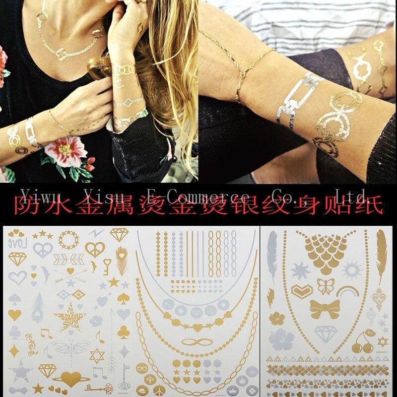 Corps Peint Art Autocollant Bronzage Tatouage Temporaire 50 Pcs Bracelet Metallique Or Eclair De Tatouage Tatouages Grande Faux Or Argent Aliexpress