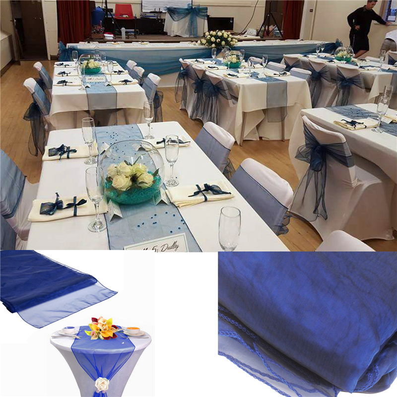 2PCS Organza Table Runner Tablecloth Cover Soft Sheer Fabric Chair Bows Swag Wedding 30*275CM Xmas Party Banquet Table Decor