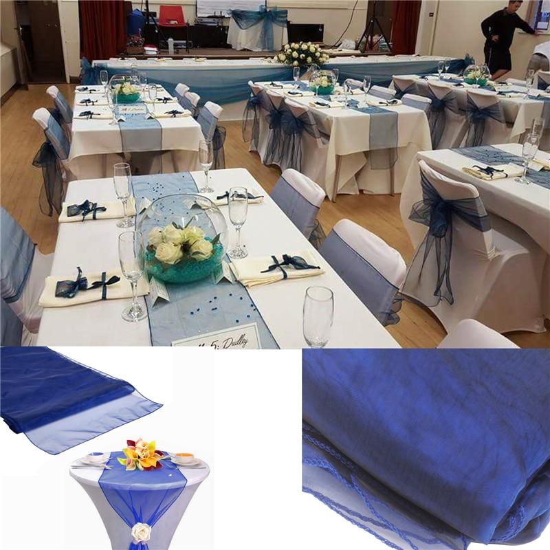 26M X 29CM Organza Roll Sash Fabric Chair Cover Bows Table Runner Sashes Swag JI