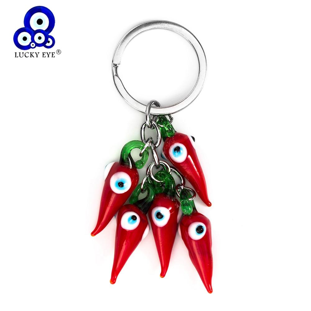 Porte-clé rouge Chilli porte-clé perle gland mauvais œil porte-clés pour femme homme bijoux voiture porte-clés cadeaux EY5267