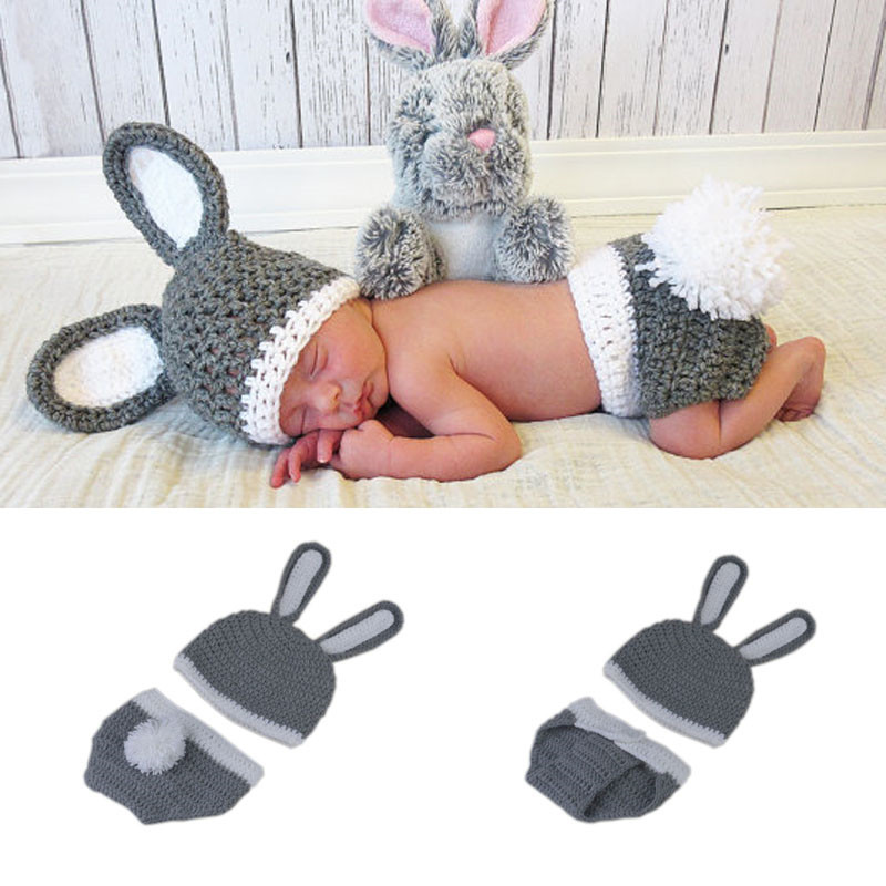 Newborn baby Bunny Hat Diaper Cover Photo Prop Baby Rabbit Custume  Photography Props For Infant 0 0c5751542a15