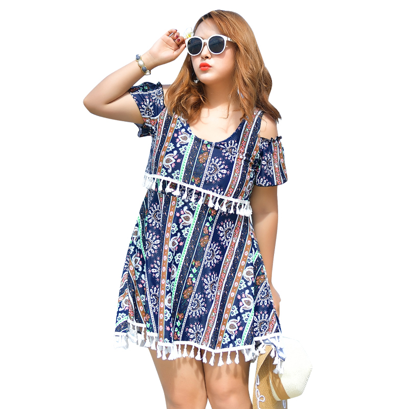 New Summer Retro Print Plus Size Sexy One Pieces Swimwear Tassel Cover Shoulders Swimsuit Beach Wear Bathing Suit Wire Free