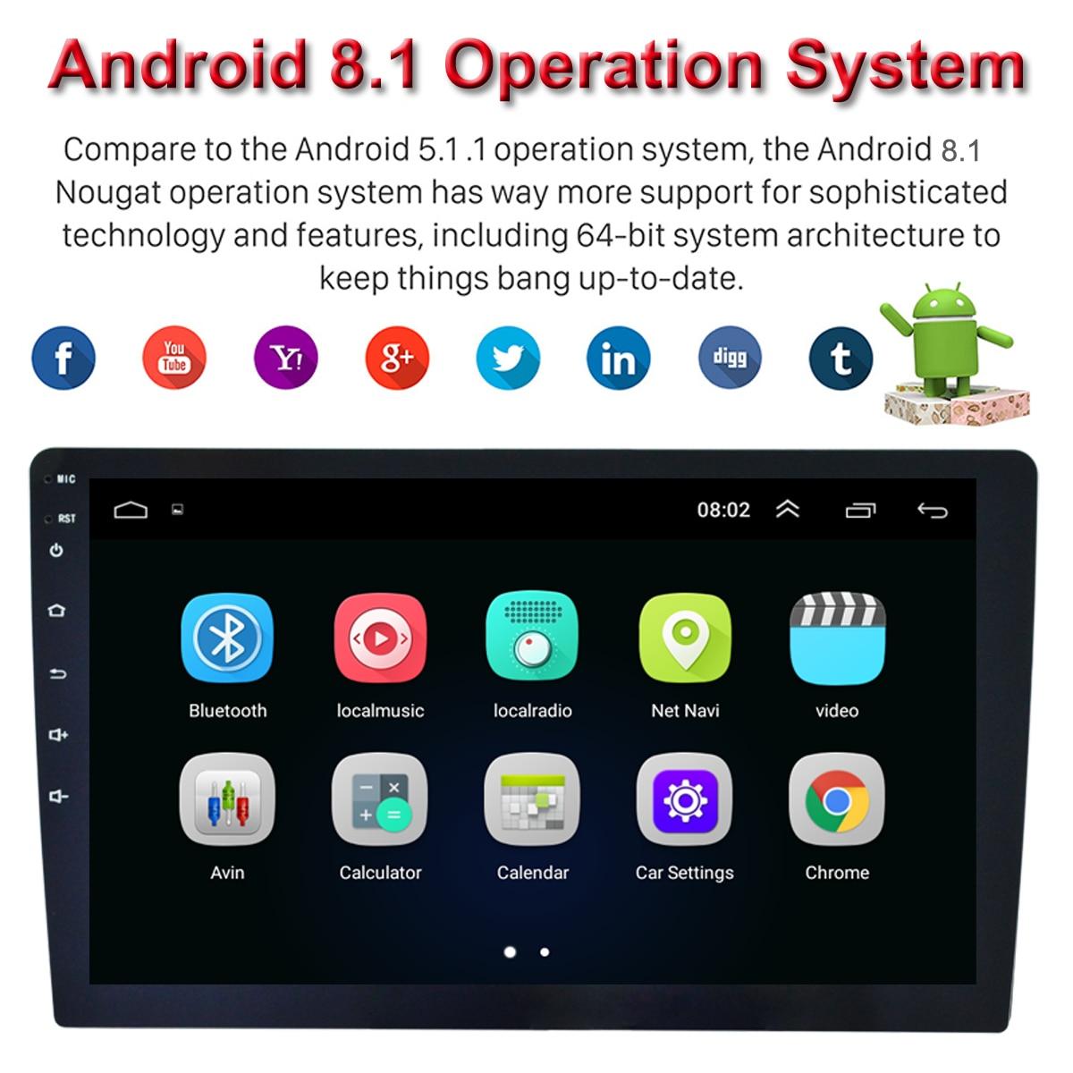 """9 """"samochodowy odtwarzacz multimedialny 1Din/2Din Stereo dla androida 8.1 z Up Down regulowany ekran Wifi bluetooth nawigacja gps radio odtwarzacz"""