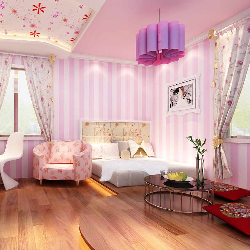 beibehang vertical striped wallpaper modern minimalist pink princess ...