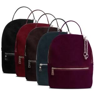 Image 5 - Women Genuine Suede Leather Backpack Female Casual Leisure Zipper Chains Nubuck Travel School Bag Teenager Girls Mochila