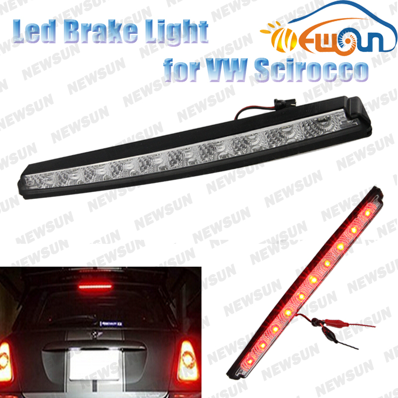 LED Third Brake Lamp for VW 12V car led auto tail lamp 10 LED Black Chrome Lens Red High Mount Third 3rd Brake Light stop lamp car rear trunk security shield cargo cover for volkswagen vw tiguan 2016 2017 2018 high qualit black beige auto accessories