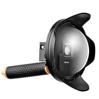 Sürüm 6 ''inch dalış sualtı lens hood dome lens dome port gopro hero 3 +/4 black gümüş kamera sualtı fotoğrafçılığı için