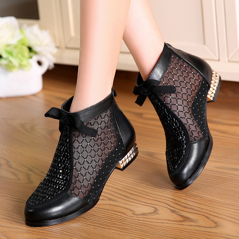 Fashion Rhinestones Bow Gauze Sandals Summer New Mesn Boots Real Leather Women's Shoes Hollow Boots Large Size 40-43