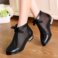 Fashion Rhinestones Bow Gauze Sandals Summer New Mesn Boots Real Leather Women's Shoes Hollow Boots Large Size 40 43