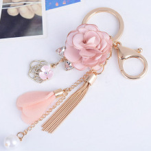 New cloth rose flowers keychain crystal key ring bow women bag car chains tassel pendant key chain jewelry gifts trinket F35 цена и фото