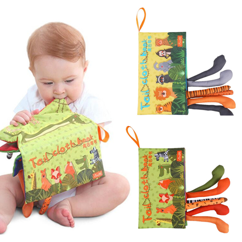 Baby Infant Rattle Toys Kids Cartoon 3D Waterproof Animal Tail Cloth Books Learning Educational Soft Cloth Books 10% off