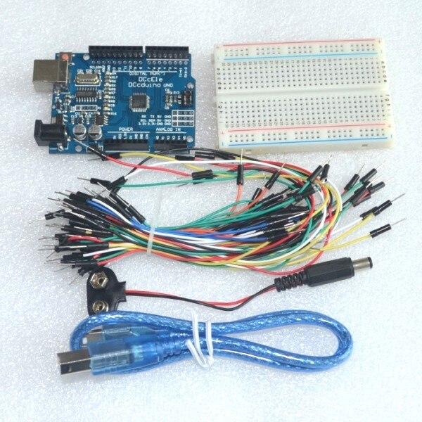 Kit iniciante uno r3, conjunto para arduino uno r3 pacote com 5 itens: uno r3, placa de ensaio, fios de ligação, cabo usb e 9v conector da bateria