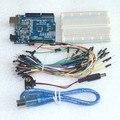 Starter Kit para arduino Uno R3-Pacote de 5 Itens: Uno R3, placa de ensaio, Fios de ligação em ponte, Cabo USB e Conector Da Bateria de 9 V