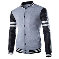 Hot New Spring Autumn Men Fashion Jackets Brand Coat Mandarin Collar Patchwork Casual Slim Print Finger Clothes Jackets Tops New