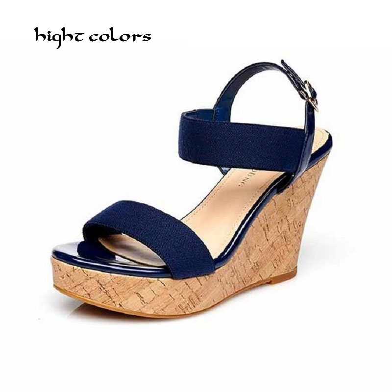 Big Size 31~43 New Arrival Ladies Summer Shoes Women Sandals High Heels Sexy Platform Sandal Buckle Open Toe Wedge Party HC855