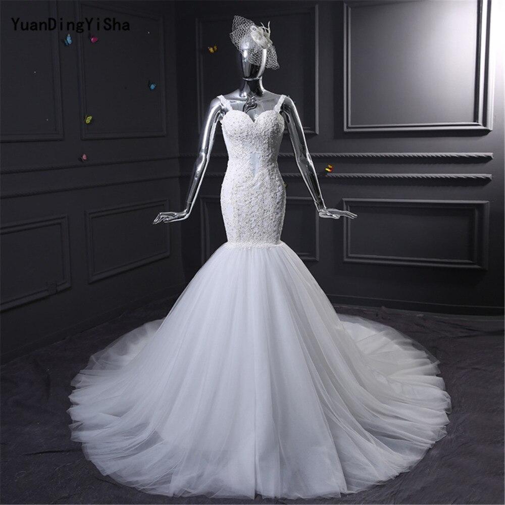 Real Photos Lace Mermaid Wedding Dresses 2017 Backless Sweetheart Beading Vestido De Novia Sexy Chapel Train