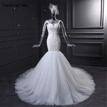 YuanDingYiSha Mermaid Wedding Dresses Backless Chapel Train