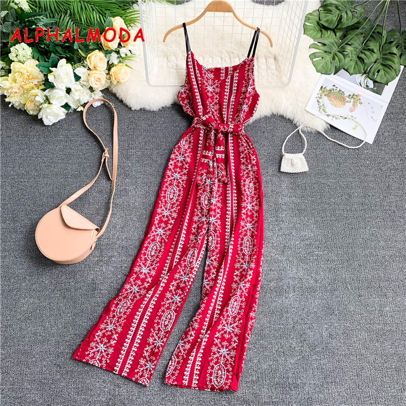 ALPHALMODA 2019 Seaside Holiday Retro Printed Jumpsuits Elastic Waist Sashes Pocket Broad-legged Rompers Ladies Casual Outfit