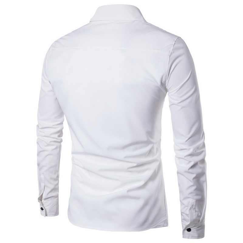 HEFLASHOR 2019 ブランド男性ビジネスシャツ秋のファッション固体二枚ドレスシャツ因果スキニー長袖カミーサ Masculina