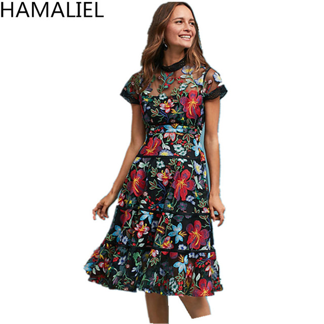 12906716f83c0 US $29.91 32% OFF|HAMALIEL Autumn Women Party Dress 2018 Luxury Runway  Embroidery Floral Lace Mesh Short Sleeve Female Slim High Waist Sexy  Dress-in ...
