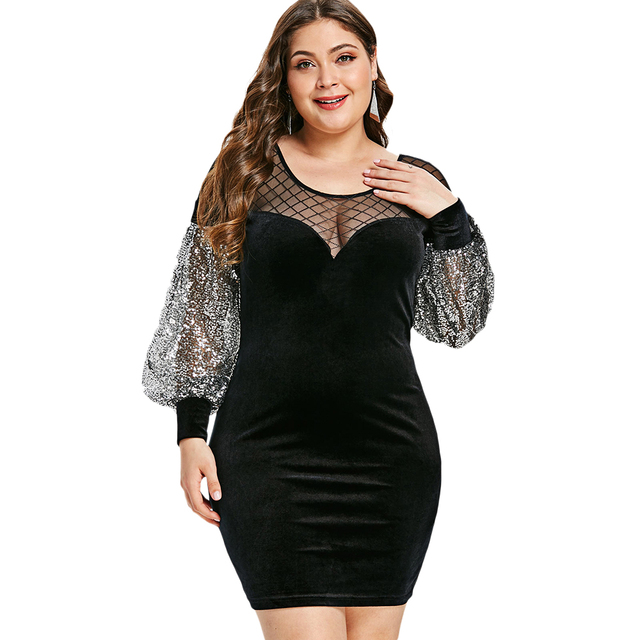 Wipalo Plus Size Mesh Panel Sequins Bodycon Dress Women Sexy Mesh Club  Velvet Dress Mini Party Dresses Feminino Vestidos black-in Dresses from  Women s ... f53a0575f643