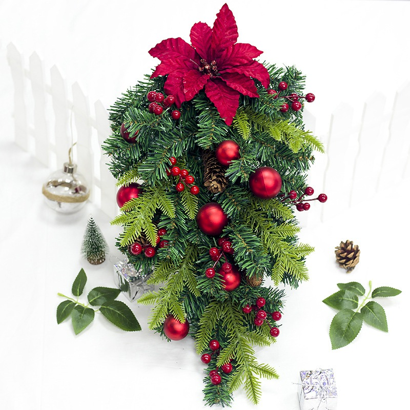 Upside Down Christmas Tree Decorating Ideas.Us 12 88 15 Off 24 Inch Artificial Upside Down Xams Tree Inverted Tree Shaped Decorations Hanging Ornaments For Home Scene Layout Christmas In Trees