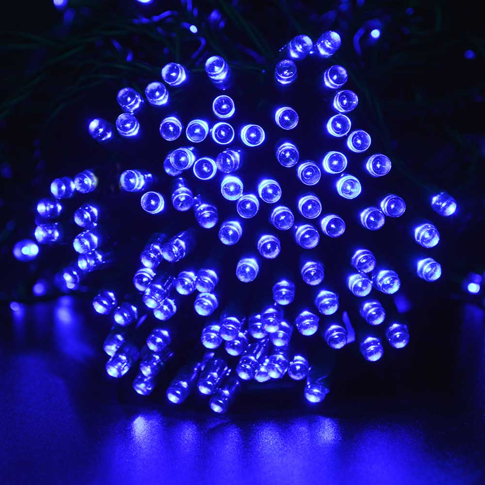 Solar Christmas Lights 72ft 200 Led 8 Modes Fairy String For Outdoor Garden Wedding With Blue Color Lamp In Lamps From