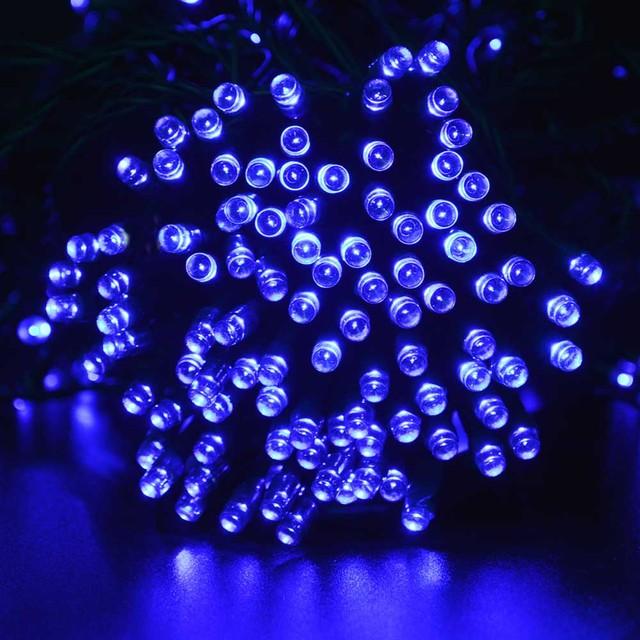 Solar Christmas Lights 72ft  200 LED 8 Modes Solar Fairy String Lights for Outdoor Garden Wedding with Blue Color Led Solar Lamp