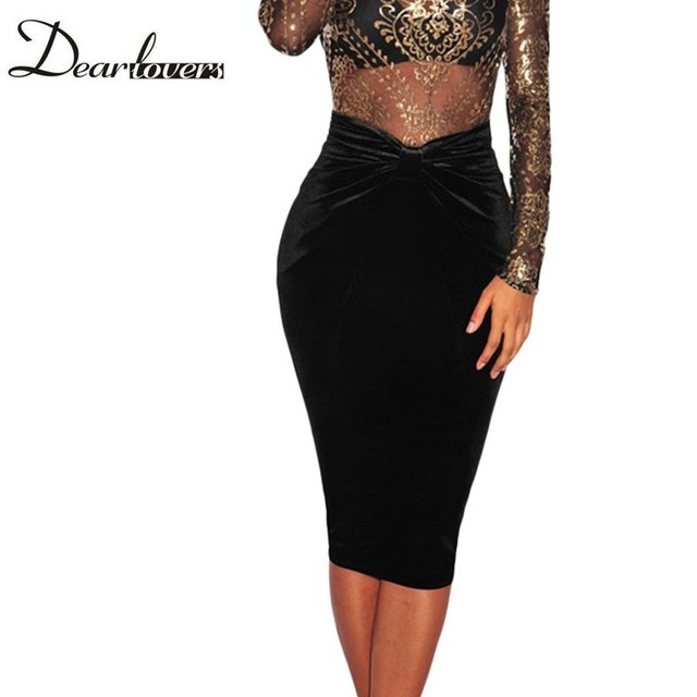 Dear lover negro velvet vintage falda otoño invierno frente tie knot vaina mujeres faldas lápiz 2017 roupas feminina saias lc65025
