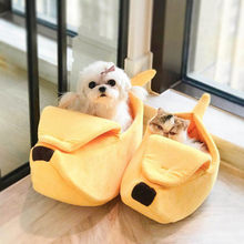 Banana Shape Pet Dog Cat Bed Cave Durable Kennel Doggy Cushion House For Cat Basket Warm Portable Dog Cat Supplies S/M(China)
