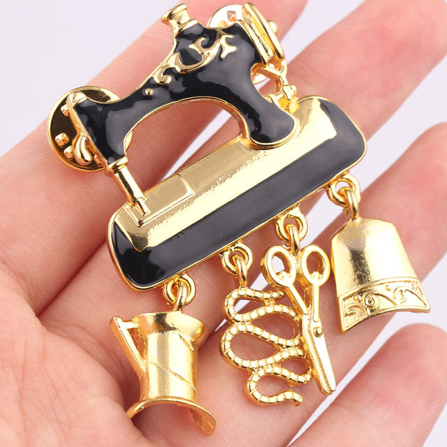1d54de5cf Free Shipping 2018 Black Enamel Sewing Machine Brooches for Women Fashion  Gold Color Cute Brooch Pin Good Gift Broch