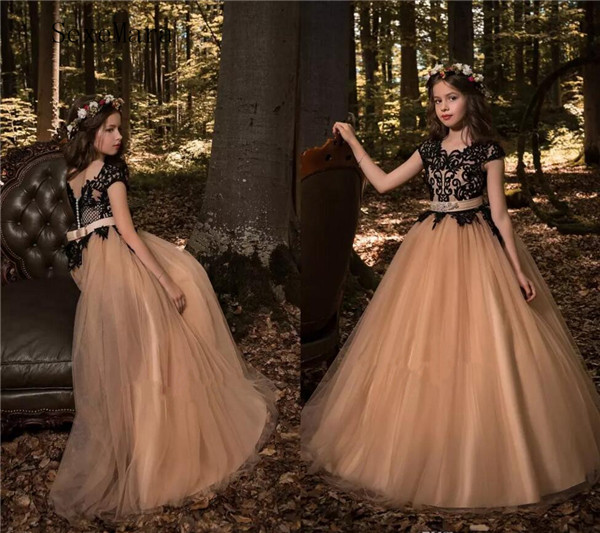 Dark Champagne Princess Flower Girl Dresses 2018 Jewel Neck Cap Sleeves Black Lace Appliques A Line Tulle Girls Pageant Gowns jewel neck sleeveless floral print a line belted dress
