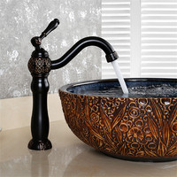 Bathroom Basin Faucet Carved Brass Black Oil Brushed Bathroom Faucet Single Handle Cold Hot Sink Mixer Tap Wash Basin Water Tap