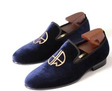 New 2018 Blue Velvet Man Casual Loafers Shoes Flats Slip on Handmade Formal Business Shoes Genuine
