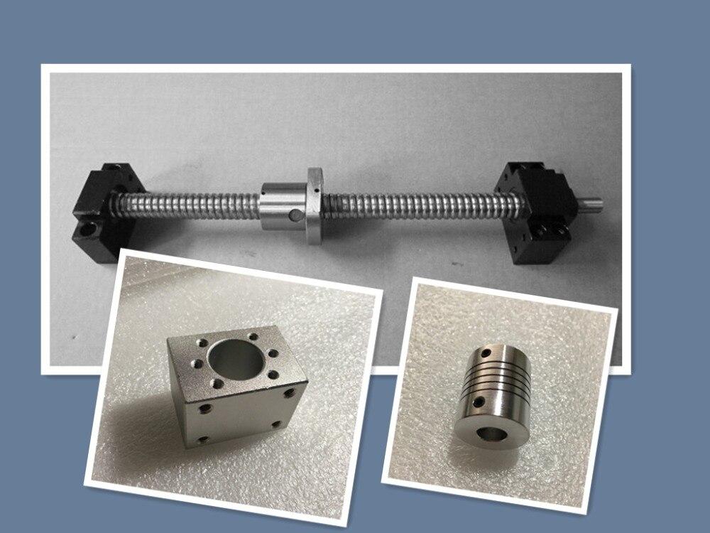 1 jeu de vis à billes roulées SFU1204 350mm C7 avec extrémité usinée + 1204 écrou à billes + boîtier d'écrou + support d'extrémité BK/BF10 + coupleur RM1204