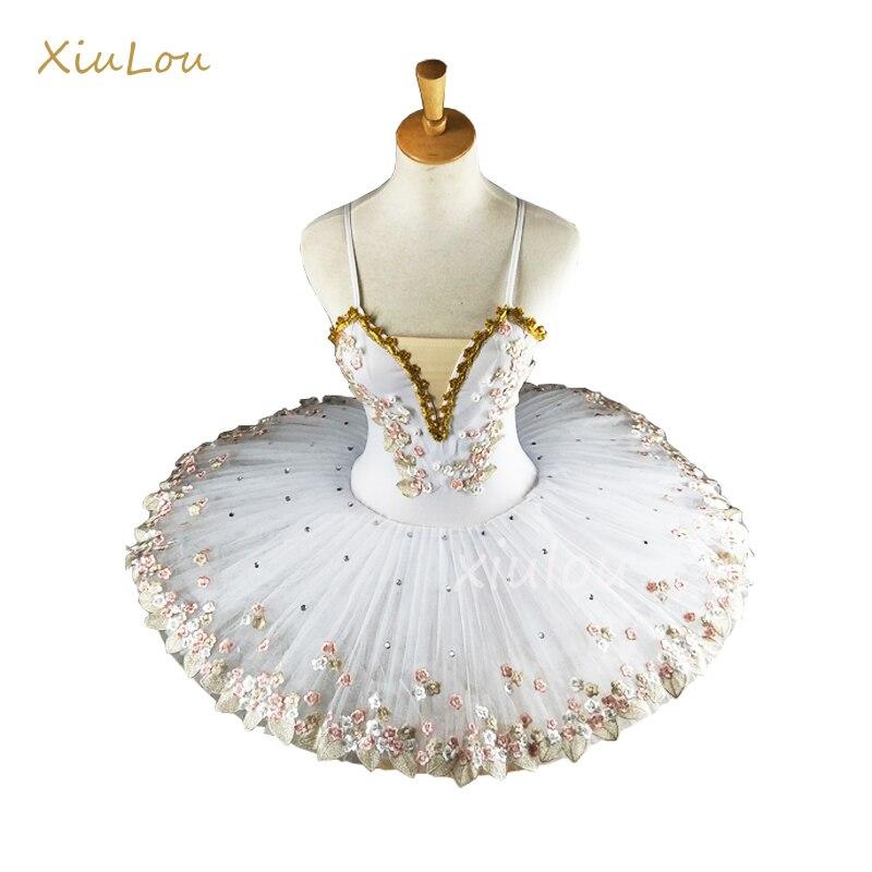 Белый Профессиональный балерина Балетная пачка для детей дети девочки взрослых плоская балетная пачка костюм, танцевальные костюмы платье...