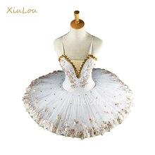 Tutu blanc pour ballerine professionnelle pour enfants, tutu pour filles et adultes en crêpe, costumes de danse, robe de ballet pour filles