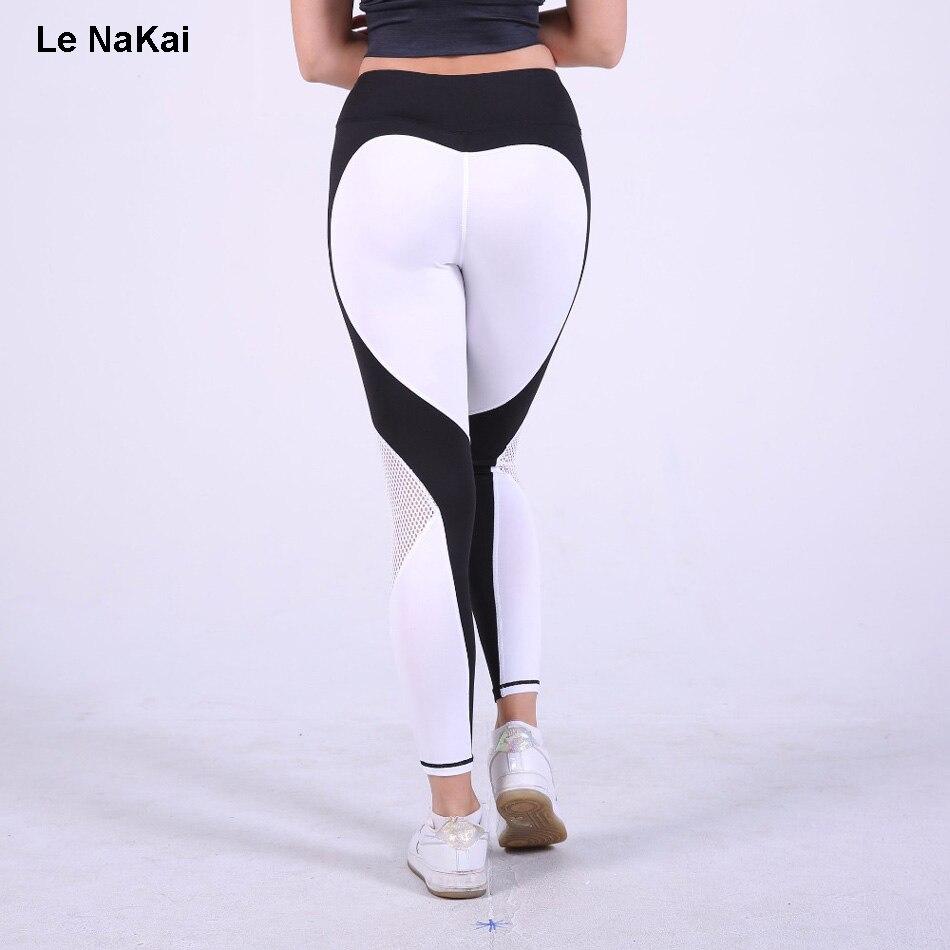 Prix pour Vente chaude Sexy Coeur Butin Imprimé Yoga Pantalon Femmes Contraste Couleur De Yoga Legging Workout Gym Collants Coeur Motif Jogger Pantalon