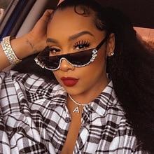 2019 Crystal  trendy half frame rimless cat eye sunglasses Sun glasses Womens brand designer rhinestone sunglaasses