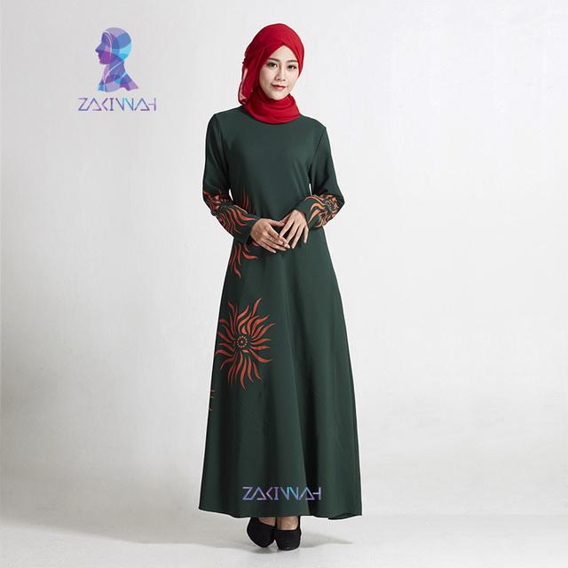 El más nuevo Estilo Elegante Impreso floral de Manga Larga Abaya Islámico Para Las Mujeres moda Musulmana Kaftan robe musulmane envío gratis