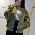 Spring slim cute outerwear Woman Casual Stitching Baseball Jacket Women Varsity Jackets Zipper Coat Harajuku Autumn