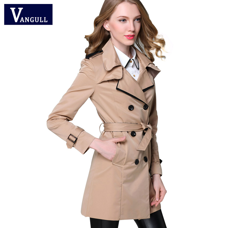 VANGULL 2017 New Fashion Designer Märke Classic European Trench Coat Khaki Black Double Breasted Women Pea Coat Real Pictures
