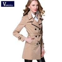 VANGULL 2016 New Fashion Designer Brand Classic European Trench Coat Khaki Black Double Breasted Women Pea